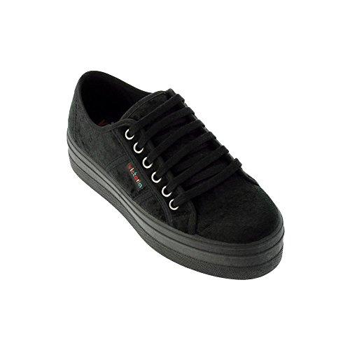 Chaussures Victoria 9206 - Tennis compensées en velours, femme adulte Noir