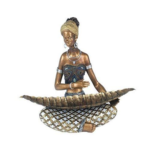 CAPRILO Figura Decorativa de Resina Mujer Africana Sentada con Hoja. Adornos y Esculturas. Africa. Decoración Hogar. Regalos Originales. 33 x 37 x 16 cm.