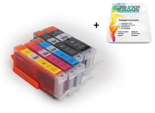 Preisvergleich Produktbild Multipack - 5 Tintenpatronen kompatibel zu CANON PGI-550 XL / CLI-551 XL mit CHIP + 10 Blatt Silvertrade Fotopapier 10x15cm - passend für CANON Pixma iP7250 iP8750 MG5450 MG5550 MG6350 MG6450 MG7150 MX725 MX925