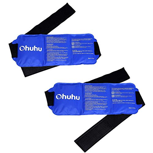 Back Relief-pack (H.Yue Ice Pack for Injuries, Reusable Gel Cold & Hot Therapy Pack with Strap for Shoulder Knee Ankle Back Neck Pain Relief, 2 Pack (2packGelIce14.5x5.5inch))