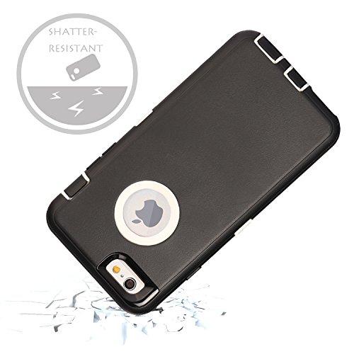 iPhone 6S Plus Fall & # xff1a; fogeek Premium Qualität 4Schicht integrierter Displayschutzfolie, staubdicht und stoßfest mit Gürtelclip Holster und ausklappbarem Ständer für iPhone 6Plus/iPhone 6S  schwarz / weiß