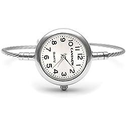 JSDDE Elegant Fashion Women's Grils' Steel Wire Bracelet Bangle Wrist Quartz Watch, Silver Tone White Face
