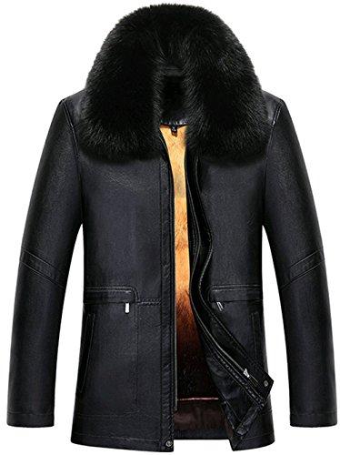 WS668 Winter Herren Leder Schaf Wolle Gefüttert Luxus Pelzkragen Warm Jacket 6876-Schwarz