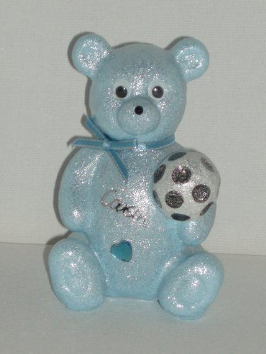 Cousin Fußball Baby Blau Teddy Bär Outdoor Friedhof Grabschmuck Ornament -