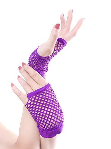 Verschiedene Paare Kostüm - Dehnbare fingerlose Neon-Netzhandschuhe (10 Paare) für Partys, Kostüme - Verschiedene Farben (Color : Purple)