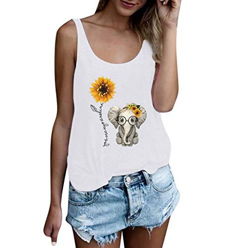 MEIbax Estampado Amor Elefante Girasol Camiseta sin Mangas de Mujer Chaleco de la Mujer Top de la Moda Mujeres Sueltas Camisa Jersey Tank Tops Mujeres Chaleco Tops Blusas Camisetas de Tirantes