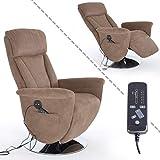 MACO Import Fernsehsessel mit Massage, Liege und Heizfunktion Stoffbezug braun - elektrischer TV Relaxsessel mit Fernbedienung