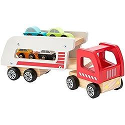 Ultrakidz - Camión portacoches de madera natural con 4 coches y remolque amovible