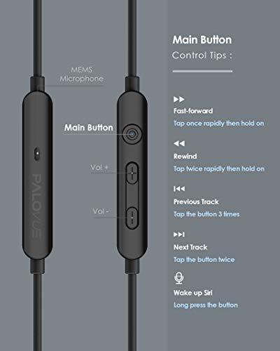 PALOVUE Earflow In-Ear Lightning Kopfhörer Magnetischer MFi Zertifizierter Ohrhörer mit Mikrofon-Controller für iPhone X/XS/XS Max/XR iPhone 8 / P iPhone 7 / P (Metallic Schwarz) - 5