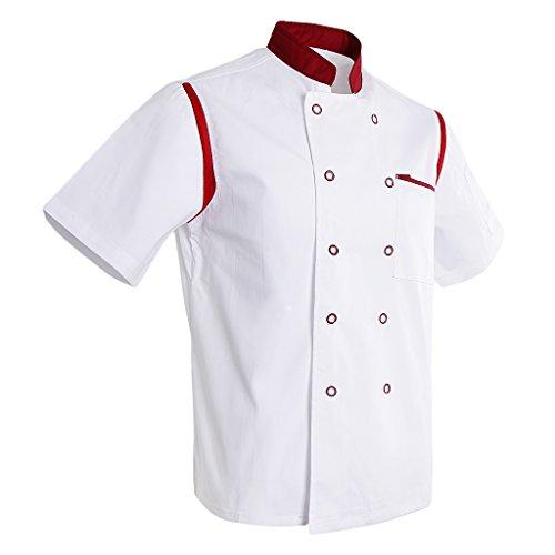 D Dolity Giacca da Cuoco Giacche da ChefAbbigliamento Da Uomo Bianco rosso M