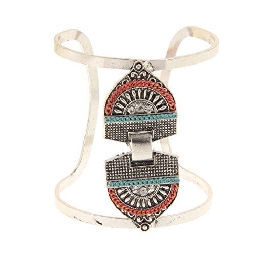Türkis Armreif Armband Armspange Oberarmreif breites Armreifen Mode Schmuck - Silber