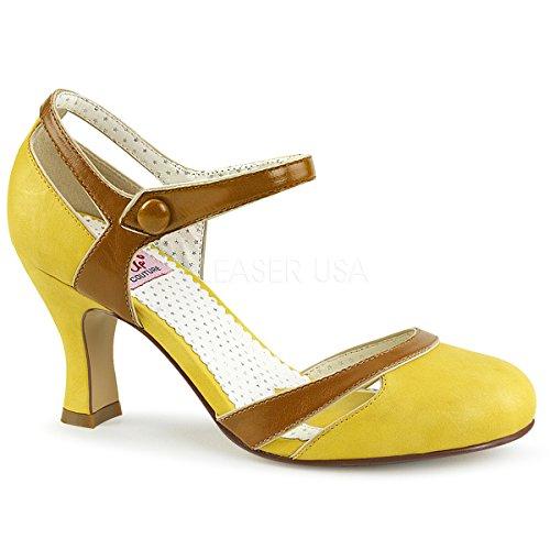 Pin Up Couture FLAPPER-27 Damen Retro Pumps, Lederimitat Gelb, EU 38 (US 8)