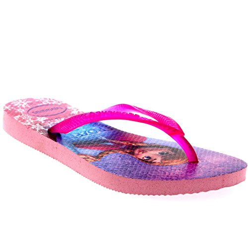Kinder Girls Havianas Frozen ELSA Anna Strand Disney Flip Flop Sandale - Crystal Rose - 31/32