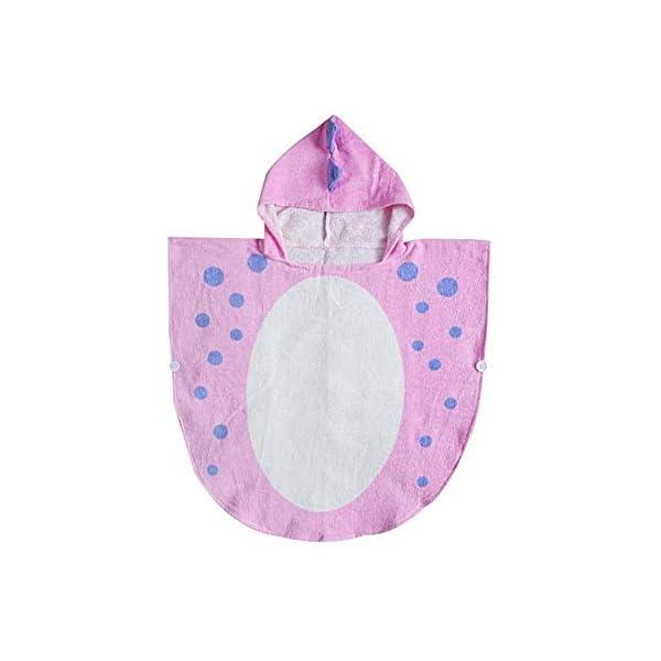 UULMBRJ - Albornoz infantil, diseño de dinosaurio, unisex, con capucha, para playa o para nadar, algodón, Rosa, Small 1