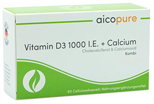 Vitamin D3 1000 I.E. + Calcium • Cholecalciferol + Calciumoxid • vegan • ohne Zusatzstoffe • Kapseln • Made in Germany (60 Kapseln)