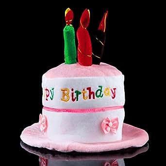 Generic Pink Birthday Cake Hat Children Kids Plush Candles Light Up