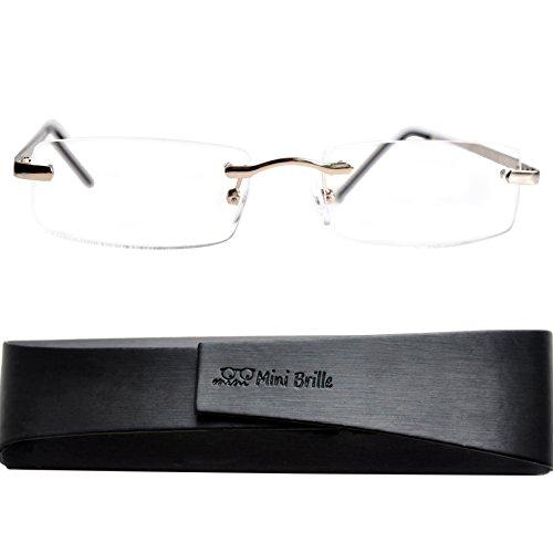 Lesebrille randlos mit rechteckigen Gläsern - mit GRATIS Etui | Edelstahl Rahmen (Silber) | Lesehilfe für Damen und Herren von Mini Brille |+1.5 Dioptrien (Für Brillen Bügel)