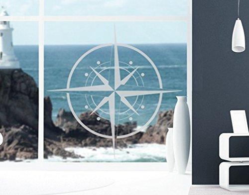 Fenster Aufkleber No. IS143Kompass–Glas Fenster Film selbstklebend | Milchglas Glas Film 5Farben Fenster Film Folie Sichtschutz Milchglas Badezimmer Farbe: frosted, Maße: 60cm x 60cm (Kompass-folie)