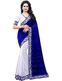 Tagline Women's Blue Velvet Saree With Blouse Piece