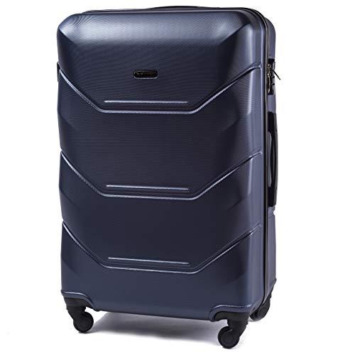 VINCI LUGGAGE Geräumiger Kabinentrolley - Leichter Flugzeugkoffer - Luxuriöser und moderner Koffer mit zweistufigen Teleskopgriff und Kombinationsschloss (Blau, L (78x49x29))