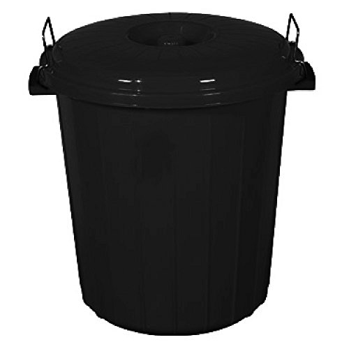 Small 50L / 70L Coloured Plastic Bin Outdoor Rubbish Dustbin Animal Feed Seed Storage (50L, Black)