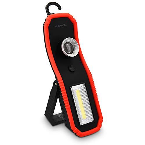 Preisvergleich Produktbild Navaris 1x Mobile LED Arbeitsleuchte - 2 Lichtmodi Haken und Magnet Halterung zum Aufhängen - Hochleistungs-Werkstattlampe KFZ Arbeitslampe tragbar