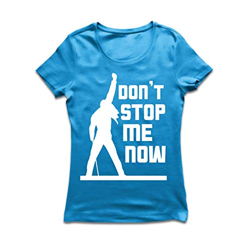 lepni.me Frauen T-Shirt Don't Stop me Now! Fan Shirts, Musiker Geschenke, Rock Kleidung (Medium Blau Mehrfarben) -