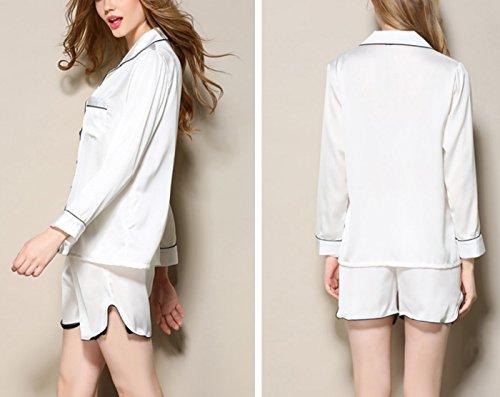 Aivtalk Femme Chemise de Nuit Ensemble de Pyjama 2Pcs en Satin Veste Longue Manche avec Bouton + Pantalon Court (Taille FR: 38-44) - 6 Couleurs Blanc