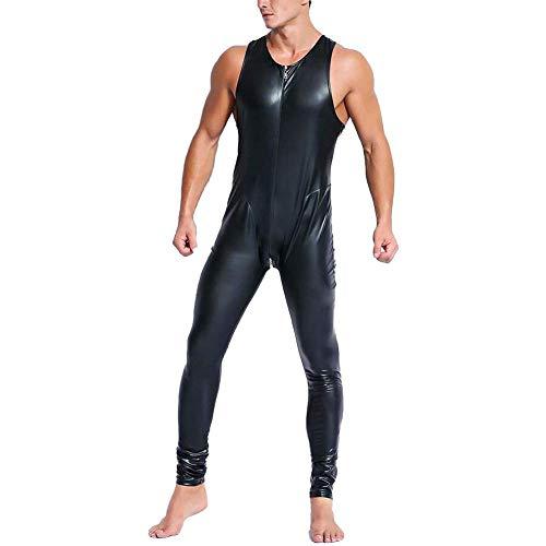 MSUCCESS Sexy Herren Wet Look Lack Leder Catsuit Vorne Reißverschluss Bodysuits Nacht Club Kleidung,Black,XL (Dress Halloween-kostüme Fancy Paare)