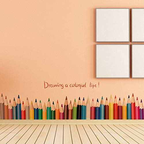 QIFDSVD Wandaufkleber New Fashion Drawing A Colorful Life Pencil Waist Line Paint Wall Sticker Home Decor Skirting Line Door Background Stair Kid Room