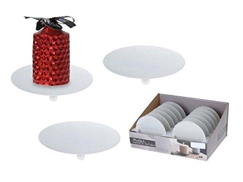Viscio Trading 137167 Assiette P/Bougie, métal, Blanc, 12 x 12 x 2 cm