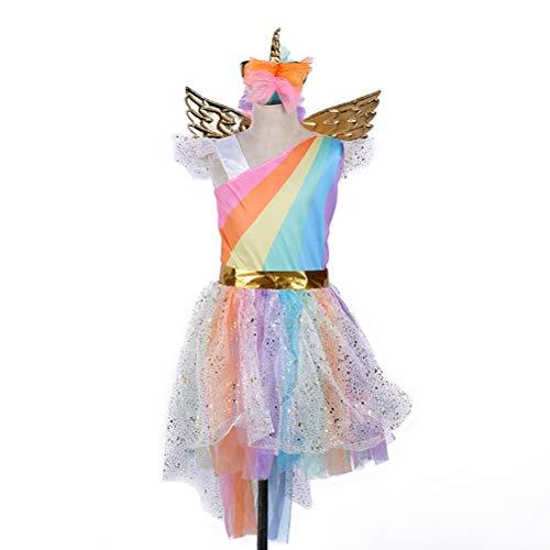 Flügel Kostüm Pegasus - BESTOYARD Mädchen Einhorn Tutu Kleid Kinder Party Karneval Fasching Foto Requisiten mit Stirnband und Flügel, Stoff, Regenbogenfarben, S