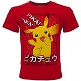 Fashion UK T-Shirt Pokemon Originale Rossa Pikachu Pika! Pika! Ufficiale Maglia Maglietta Bimbo Ragazzo