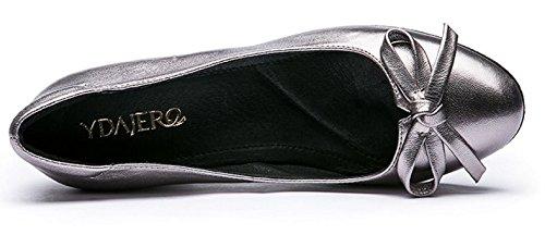 Fin du printemps nouveau arc souple en cuir chaussures de Dame/Talons chunky de confort dans les chaussures des femmes A