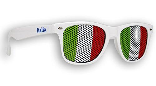 10 x Fanbrille Italien - Italia - Italy - Sonnenbrille - Brille Italia - Weiß - Fan Artikel