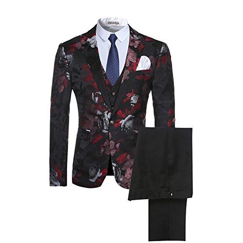 Cloudstyle Mens Slim fit Fancy Notched Lapel Allover Floral Print Blazer suit One Button 3 piece Jacket Coat&Vest&trousers