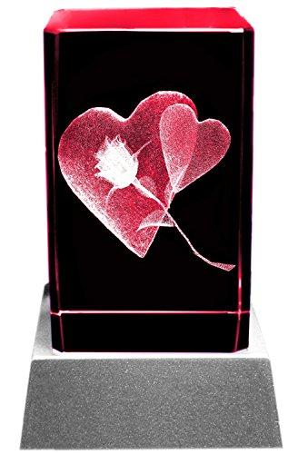Kaltner Präsente Stimmungslicht - Das perfekte Geschenk: LED Kerze/Kristall Glasblock / 3D-Laser-Gravur Liebe HERZ ROSE