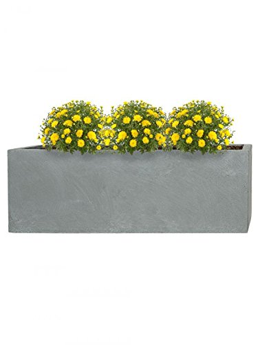 PFLANZWERK® Pflanzkübel Fiberglas TUB Grau 17x50x17cm *Frostbeständiger Blumenkübel* *UV-Schutz* *Qualitätsware* -