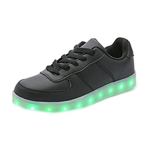 [Présents:petite serviette]JUNGLEST LED chaussure clignotante avec 7 couleurs led USB rechargeable basket lumineuse chaussure de sport en couleur noir/ Noir