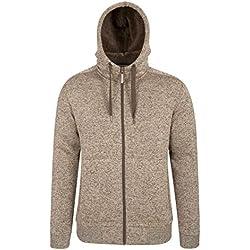 Mountain Warehouse Hoodie Hommes Nevis - Polaire Douce, Chaud, Confortable, Capuche Ajustable, Poches Avant Zip intégral - Marche, Course Beige M
