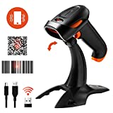Tera Barcode Scanner 2D 1D Wireless 3 in 1 Barcodescanner 2.4 GHz kompatibel mit Bluetooth USB Strichcode Scanner mit 2000mAh große Kapazität Akku /2M Kabel/Ständer (Deutsche Anleitung)