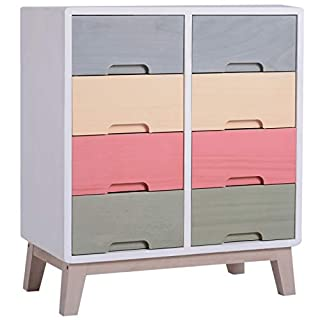 HOMCOM Wooden 8 Chest of Drawers Cabinet Storage Cabinet Bedside Table Multi-coloured Hallway Living Room Furniture 55W x 30D x 65.5 H cm