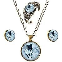 GYJUN Vintage Wolf Anhänger Halskette Ohrringe hohle Blume Armreif Schmuck-Sets