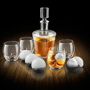 Final Touch On The Rock Whisky-Dekanter-Set aus Glas – 10-teiliges Set mit...