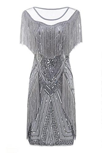 (Metme Frauen der 1920er Jahre Perlen Pailletten Fringed Gatsby Thema Flapper Kleid Gatsby Kleid für Party)