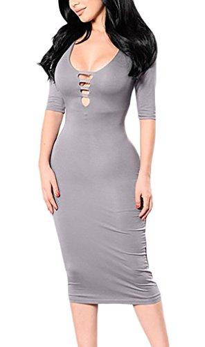 Damen Kleid Festkleid Strickkleider Freizeitkleid Unter Knie 3/4 Slv Tief-V Paket H¨¹fte Herbst Vintage Einfarbig Casual Grau