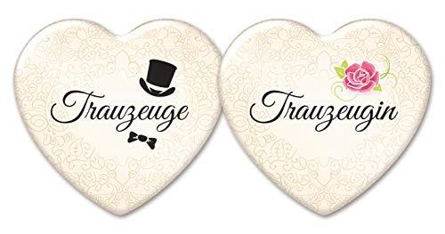 (stylebutton Trauzeugen-Anstecker in Herzform: 2 romantische Buttons für Trauzeugin und Trauzeuge, creme, 58 x 53 mm, als Hochzeit-Accessoire)