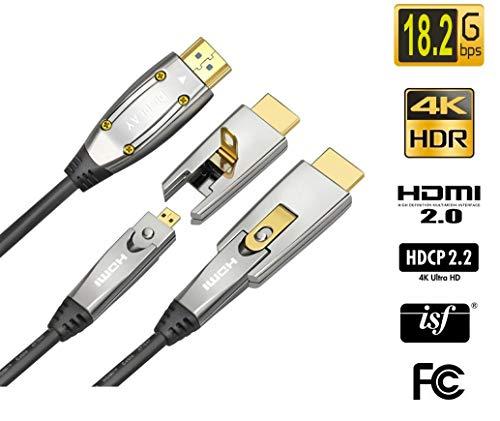 Jeirdus AOC HDMI Glasfaserkabel, 18 Gbit/s, High Speed, unterstützt 4K60 HZ, mit kleinen Mikro- und Standard-HDMI-Anschlüssen, einfache Rohrleitung 82ft(25meters) blau -
