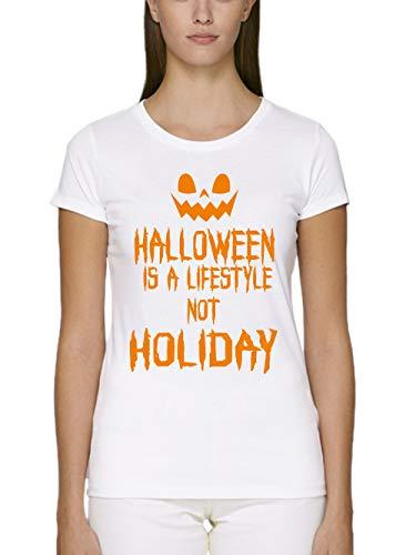 clothinx Damen T-Shirt Fit Bio und Fair Halloween is A Lifestyle Not A Holiday Weiß Gr. - Walking Dead Girl Kostüm
