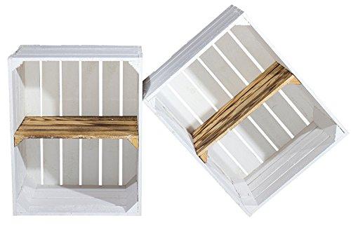 2er Set Weiße Regalkiste mit geflammtem Boden -Zwischenbrett quer- Obstkiste als Schuhregal / Bücherregal / Kistenregal 50x40x30cm